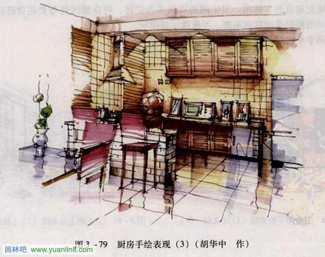 室内手绘 厨房手绘效果图表现技法,手绘作品