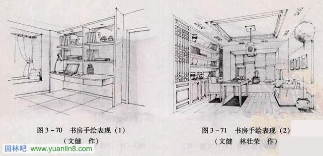 室内手绘 书房手绘效果图表现技法 书房手绘作品