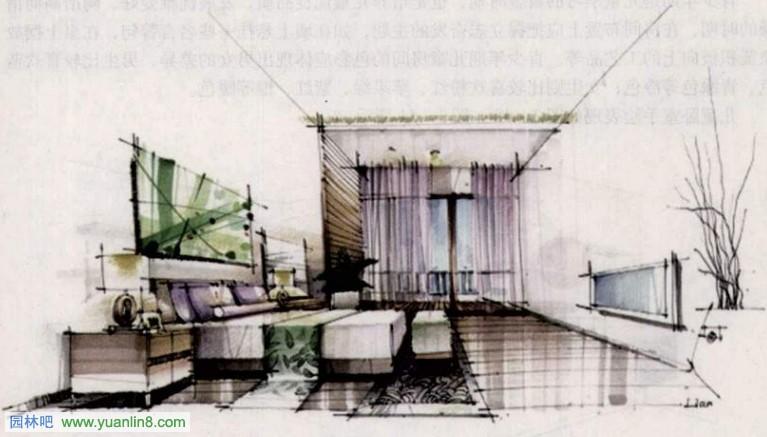 手绘效果图快速表现之主卧室设计(图解)