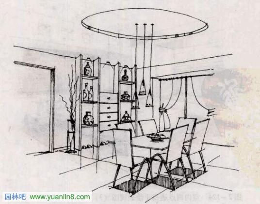 图2-122室内两点透视手绘表现图(1)文健
