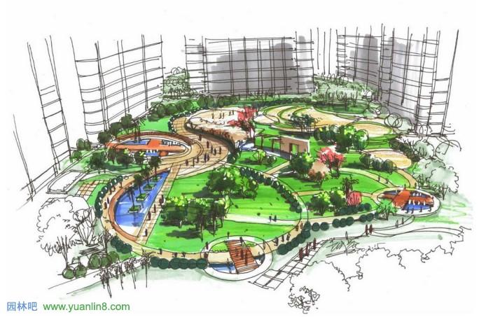 公园广场景观效果图_景观手绘_园林吧论坛