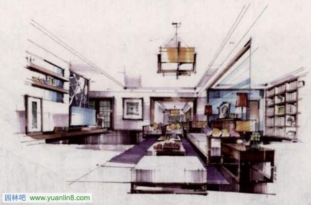 5,现代风格客厅手绘效果图-谭立予.jpg