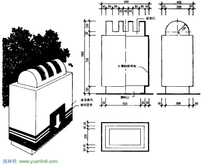 园林小品污物贮筒 垃圾箱 设计要求设计示意图平面图