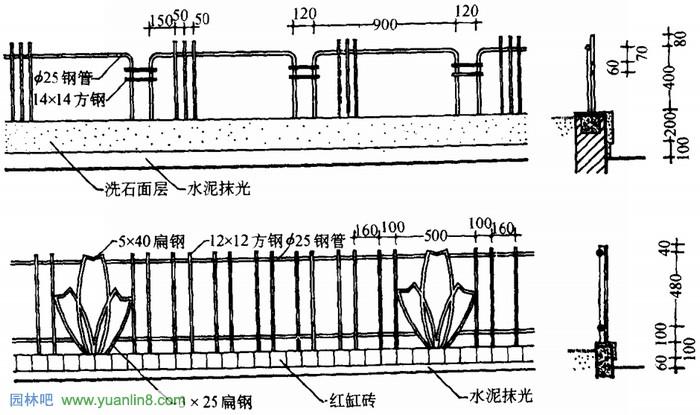 园林小品景观 栏杆景观的手绘表现技法