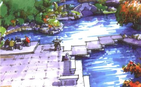 论坛 景观手绘 景观手绘中水景的表现形式    规则式水体   3.