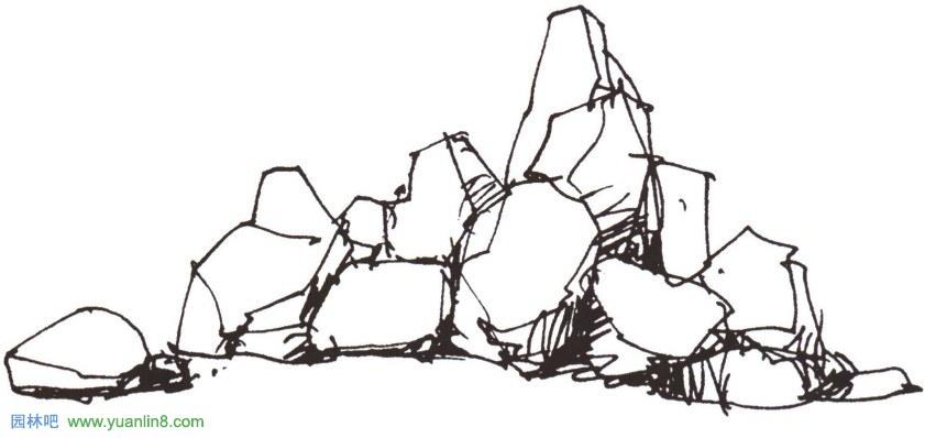山石,水的手绘表现技法技巧_景观手绘_园林吧论坛
