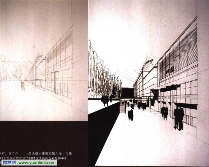 建筑手绘效果图表现之建筑透视图表现技巧    图3右图:用视线法作成角