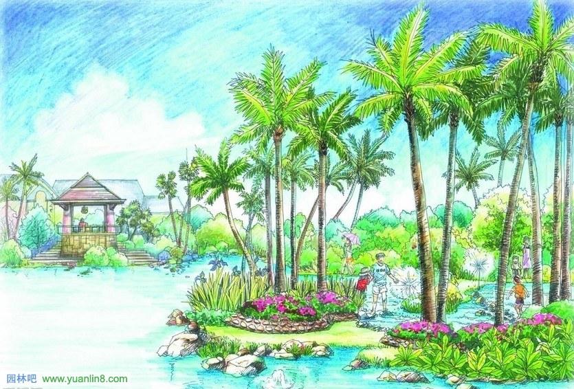 初学景观手绘效果图高清图片