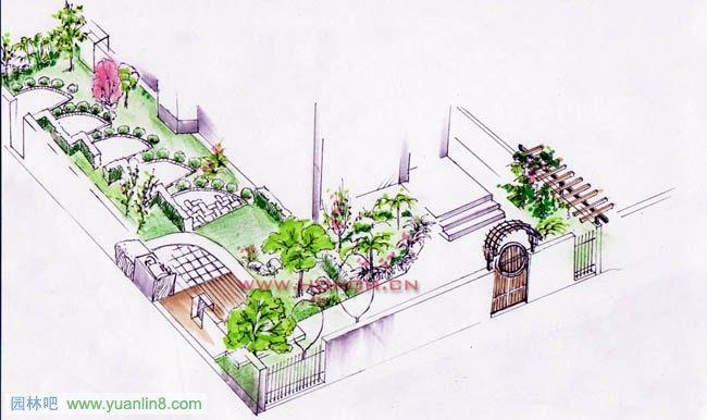别墅 庭院景观设计效果图,平面图