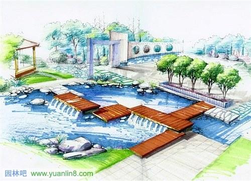 园林水景手绘效果图欣赏