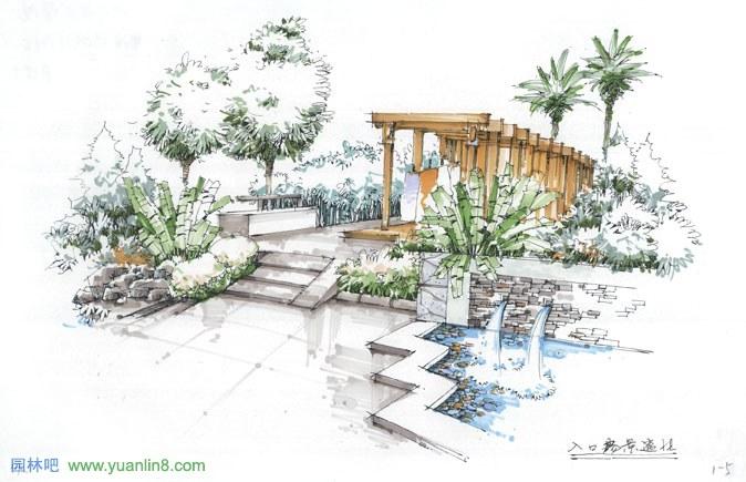 景观小品概念手绘设计_景观手绘_园林吧论坛