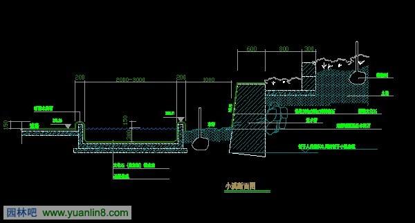 小溪跌水CAD图纸图片