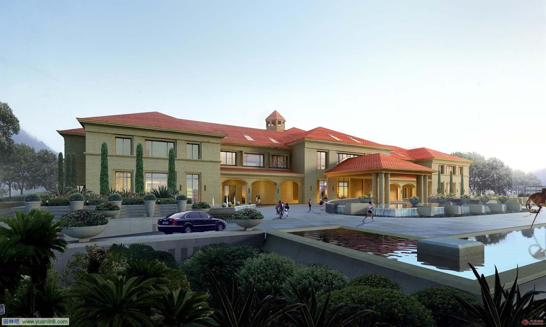 园的度假酒店与别墅鸟瞰效果图