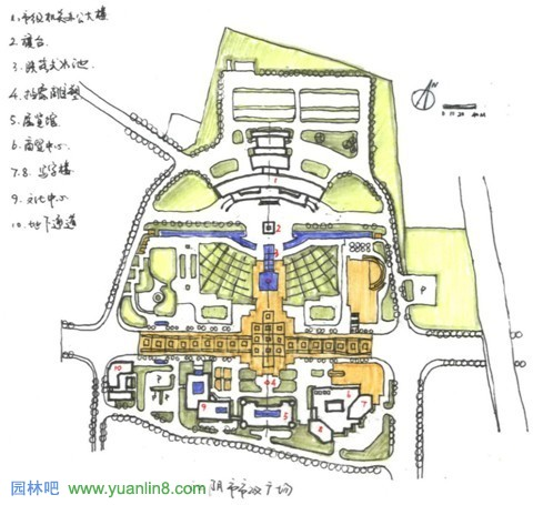 市政广场系列规划设计平面图描图