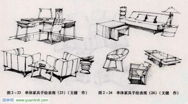 手绘单体室内家具与陈设线描训练