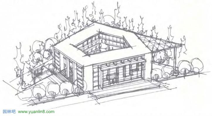[快题]考研-建筑快题设计-建筑形体空间设计_景观手绘