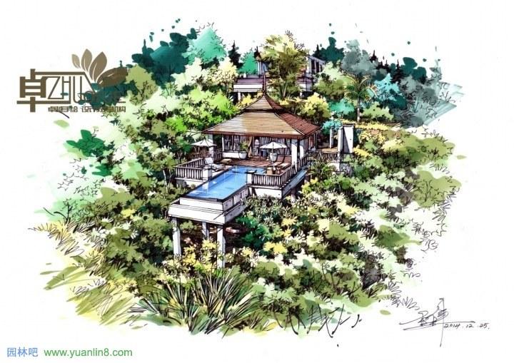 卓越手绘景观线稿与上色效果图