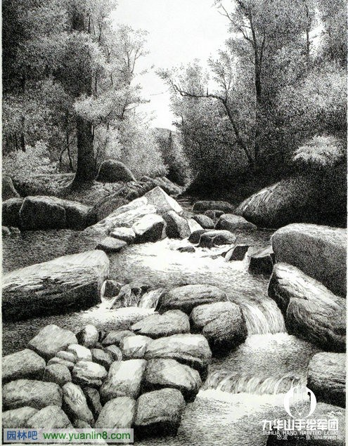 九华山手绘军团风景钢笔画