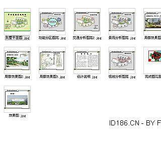 别墅平面图 功能分区图完 交通分析图完 景观分析图完 局部效果图
