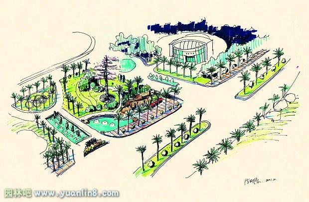 别墅花园快题设计手绘