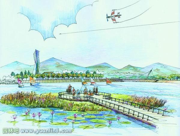 手绘滨水景观设计