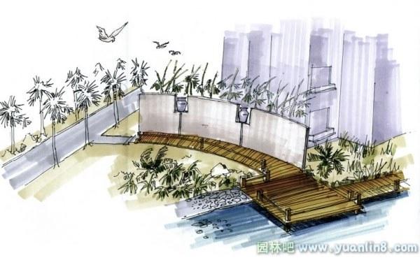 园林景观手绘效果图三