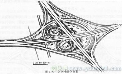 立交桥简笔画-城市道路立体交叉道绿地种植设计