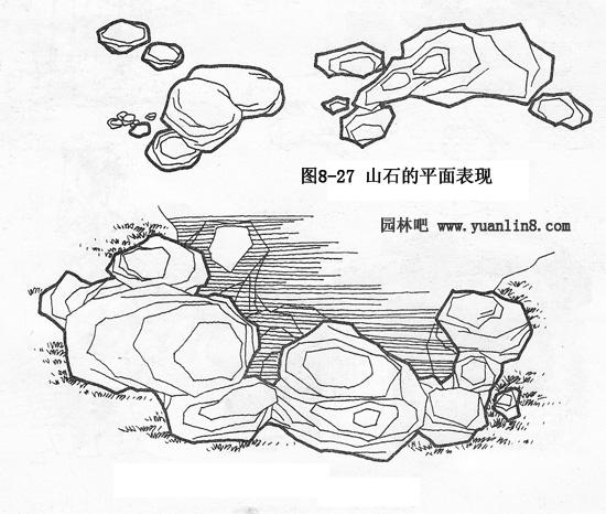 马克笔手绘图片山石