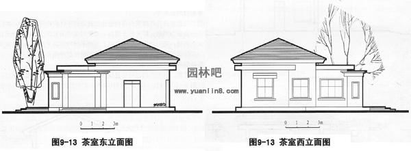 园林建筑设计图中的建筑立面图绘制