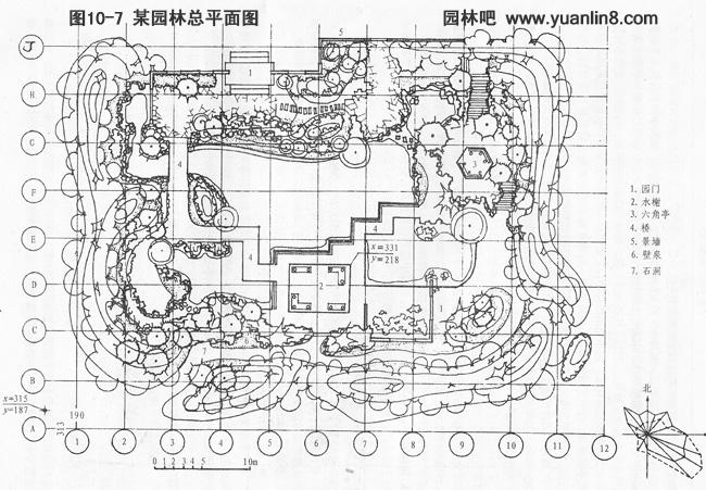 园林设计平面图中,地形的高低变化及其分布情况用