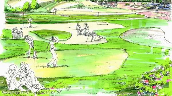 1p; 景观手绘效果图,园林手绘效果图,; 手绘小景1张