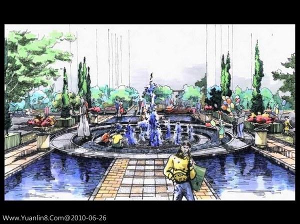 中心广场景观水景手绘效果;