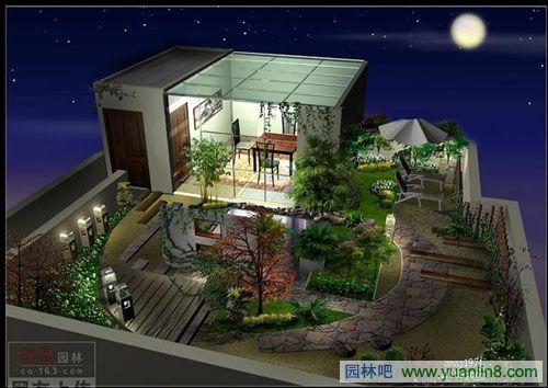 屋顶花园及庭院设计效果图-景观规划_园林吧