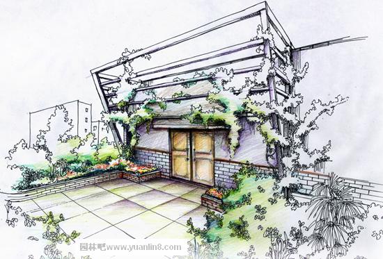 屋顶花园实景实拍,手绘效果组图