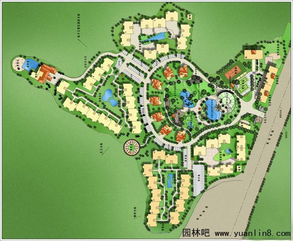 园林景观设计,手绘景观平面图组合