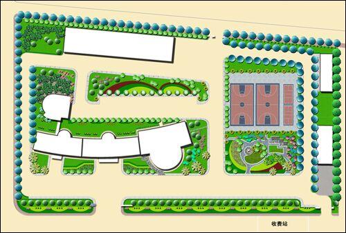 稷山中学园林景观平面表现图(天秀园林软件二维效果图)-园林吧