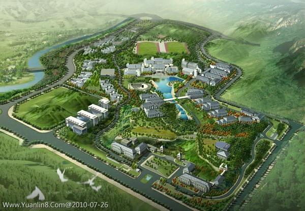 龙画法_某大学校园整体规划鸟瞰图-景观规划_园林吧