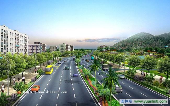 景观透视手绘效果图_道路景观效果图的制作思路-Photoshop_园林吧