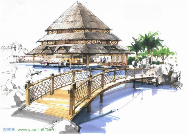 建筑,景观,园桥,廊架手绘效果图