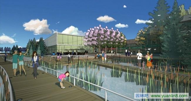 风景园林的未来; 一个河道景观设计方案的su表现