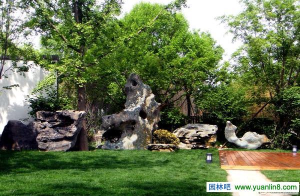 别墅园林景观置石实景组图-庭院小品_园林吧