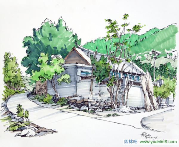 西递宏村马克笔手绘图片