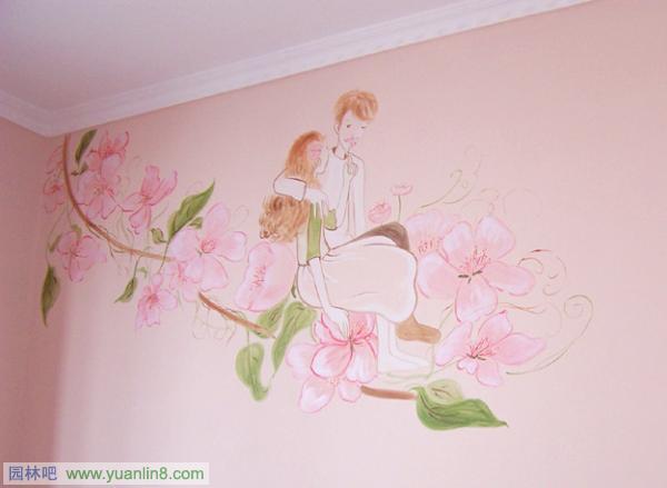 彩色线条手绘墙