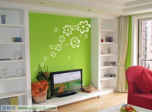 浅绿色电视背景墙欧式
