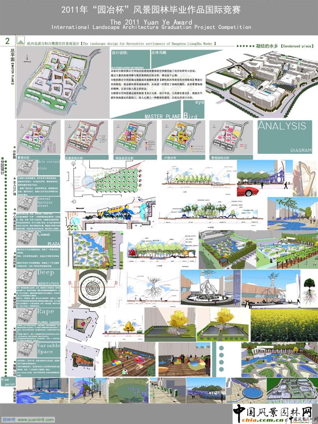 """一、2011年""""园冶杯""""风景园林毕业作品国际竞赛-凝结的水乡方案设计:   本案对分散的围合空间如何获得连续整体的空间感受做了初步的研究与尝试。   通过大量的实地考察与现存案例的比较分析,得出如下心得:   分散的围合空间若通过道路或其他硬质景观【硬性的改变原有的空间格局】等进行实体相连,就会破坏原有场地条件,从而进一步更改了场地的属性。没有尊重场地的精神,让设计陷入孤立的状态。   分散围合空间若通过虚体相连【设计元素,设计手法,人的潜在意识】,就能在不破坏场地基址的基础上"""