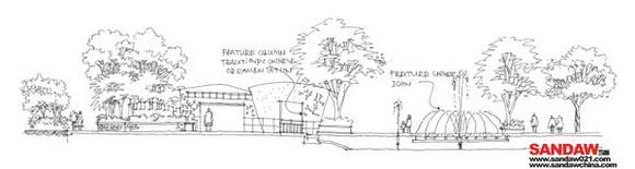 公园剖面图手绘线稿