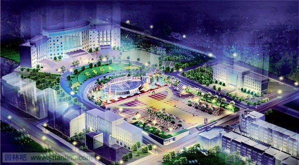 锦鸡景观广场设计效果图-夜景鸟瞰图