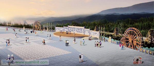 私家别墅花园设计图_锦鸡景观广场设计效果图-规划设计_园林吧