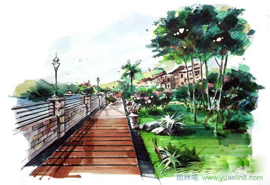 景观小景手绘效果图; 绘世界景观作品;; 绘世界景观作品 - 绘世界手绘