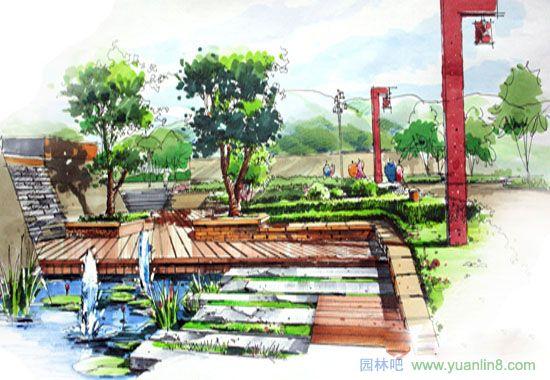 园林景观手绘效果图_室外设计手绘效果图_景观广场手绘效果图_桌椅